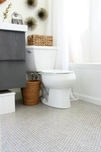 Penny Tile Bathroom Floor I Ve Been Thinking About This Since Saw It On Her Blog In February Laundry And Bathrooms Pinterest
