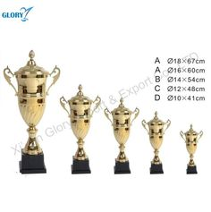 Big Metal Gold Sport Trophy Cup With Black Base