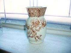 Brown Transferware Vase D B and Co. by RedRiverAntiques on Etsy, $60.00