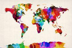 Map of the World Map Abstract Painting Impressão em tela esticada por Michael Tompsett na AllPosters.com.br