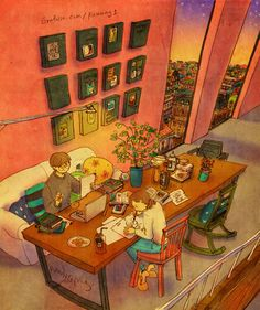 Sitting across each other, busily doing our own work. Garfield, I can't do my work with you here~! See a full illustration :. Love Is Sweet, What Is Love, Cute Love, Couple Illustration, Illustration Art, Puuung Love Is, We Fall In Love, Korean Artist, Couple Art