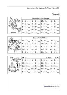Jana oefent elke dag de deeltafel van 2 ! - Maaltafels.be-Jana oefent elke dag de deeltafel van 2 ! - Maaltafels.be English Teaching Materials, Teaching English, Multiplication, Math Worksheets, Einstein, Math Activities, Degree Of A Polynomial, School