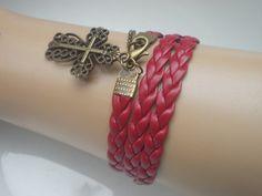 Red bracelet pattern bracelet bracelet cross. by IriscaJewelry, $0.60