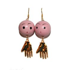 Unusual Face Earrings with Gold Hands - Strange handmade jewelry face man in the moon 30s inspired hand painted beads celestial moon