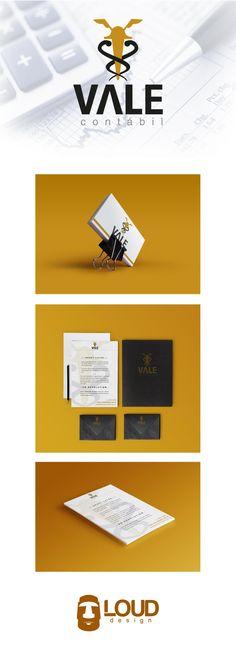 Desenvolvimento do design para papelaria da Vale Contábil seguindo sua identidade visual também desenvolvida pela Loud Design!