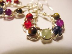 7 Chakra Earrings Sterling Silver Ear Wires  by CherylsHealingGems, $35.00. wire Wrapped design , semi precious stones