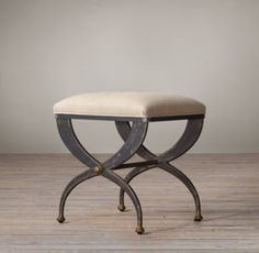 19th C. French S-Curve Upholstered Stool