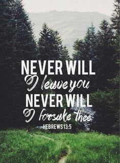 Hebrews 13:5-don't love money, for God has said He will never leave or forsake us.