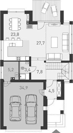 Rzut parteru projektu Z Charakterem 2 Storey House Design, Duplex Design, Bungalow House Design, Modern House Design, Small Floor Plans, Small House Plans, House Vector, Apartment Floor Plans, Best House Plans