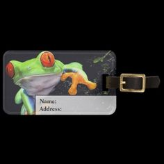 Shop Frog 3 Luggage Tags Options created by Ronspassionfordesign. Custom Luggage Tags, Standard Business Card Size, Leather Luggage, Travel Essentials, Baggage, Cards, Personalised Luggage Tags, Personalized Luggage Tags, Travel Necessities