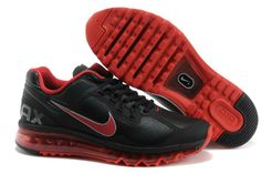 Red Black Leather Air Max 2013 Women