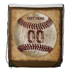 Baseball Backpacks for Kids with their NAME and JERSEY NUMBER typed into text boxes. Baseball Drawstring Bags for boys who love baseball. HERE: http://www.zazzle.com/baseball_drawstring_backpack_name_jersey_number_piocdrawstringbackpack-256717628988662083?rf=238012603407381242 Antique look background and vintage baseball design is so cool. More Custom Baseball Gifts HERE: http://www.Zazzle.com/YourSportsGifts* CALL Rod or Linda for HELP or Changes: 239-949-9090.