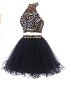 Halter Two Pieces Beading Short Prom Dress,Homecoming Dress,Graduation Dress,Party Dress F30