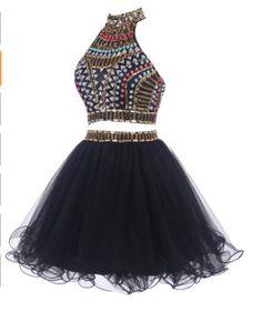 Halter Two Pieces Beading Short Prom Dress,Homecoming Dress,Graduation Dress,Party Dress F30
