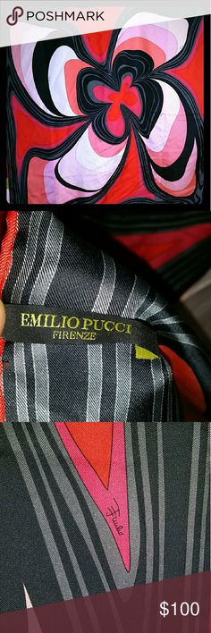EMILIO PUCCI FIRENZE 100% Silk Scarf EMILIO PUCCI FIRENZE Huge Silk Scarf. Gorgeous Multi-colored with Red, Gray, Pink and Black Tones. These are Selling (used) as high as $298. You can have this one for $100.00 or make me an Offer. Emilio Pucci Accessories Scarves & Wraps