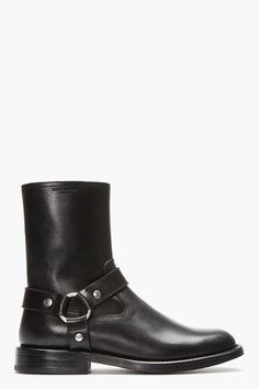 Black Leather Biker Boots by Saint Laurent   Apprl - Social Shopping