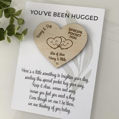 LOVE this adorable little heart engraved with names and a message. perfect for a tiny thoughtful gift for Mother's Day! Thinking Of You Today, Thinking Day, Mothers Day Presents, Mother Day Gifts, Personalized Baby Gifts, Personalised Box, Wooden Memory Box, Missing You Love, Miss You Gifts