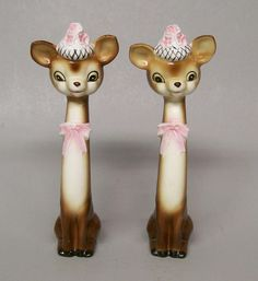 "Vintage NAPCO Disney Long Neck 8 1/2"" Tall BAMBI Salt Pepper Shakers 1956 A1879"