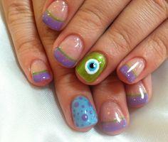 Monsters Inc! Hard Nails, How To Do Nails, Monsters Inc, Fingernail Designs, Nail Art Designs, Monster Inc Nails, Cute Nails, Pretty Nails, Disneyland Nails
