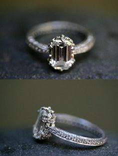 Cathy Waterman custom engagement ring with emerald cut diamond.