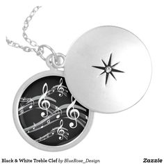 Black & White Treble Clef Silver Plated Necklace Locket Necklace, Washer Necklace, Treble Clef, Black Felt, Christmas Card Holders, Silver Plate, Plating, Black And White, Sterling Silver