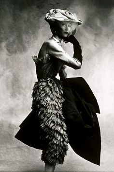 A model photographed by Irving Penn in a Balenciaga dress for Vogue in 1950. See inside Vogue On: Cristόbal Balenciaga here