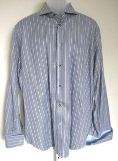 d69ef44e Robert Graham Dress Shirt Size 44 17.5 Cotton Blue Long Sleeve Houndstooth