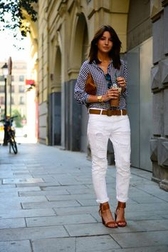 Gingham shirt with white distressed boyfriend jeans