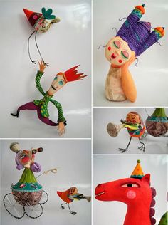Colorful paper mache figures
