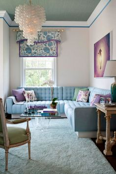 Interiors, home decor, living room. Baby blue, lavender, and mint green, very girly and cute