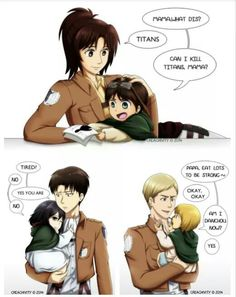 This is actually adorable. Hanji as Eren's mom, Levi as Mikasa's father, and Erwin as Armin's father. I could actually picture this!