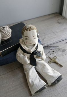 Dapper Vintage Sailor Doll From The 1940s... The Embroidered Details Are Amazing!