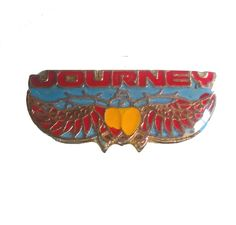 vintage JOURNEY metal enamel pin button Steve Perry Don't Stop Believin' scarab