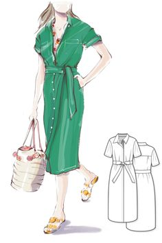 Oversized shirtdress Sewing Pattern #5106 Get the PDF sewing pattern of the women's shirt midi dress with classic shirt collar, chest pockets, back yoke, and short sleeves from Dressy Talk  #DressPattern #WomensSewingPatterns