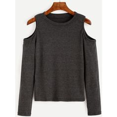 Dark Grey Open Shoulder Knit T-shirt ($11) ❤ liked on Polyvore featuring tops, t-shirts, long sleeves, grey, long sleeve knit tops, long sleeve t shirts, stretch t shirt, knit top and grey tee