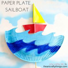 This interactive paper plate sailboat craft for kids is perfect for a summer kids craft, ocean craft for kids and fun paper plate kids craft. Boat Crafts, Paper Plate Crafts For Kids, Ocean Crafts, Spring Crafts For Kids, Camping Crafts, Fun Crafts For Kids, Craft Activities For Kids, Toddler Crafts, Preschool Crafts