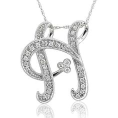 14k White Gold Alphabet Initial H Diamond Pendant Necklace (HI, I1-I2, 0.20 carat) Diamond Delight. $399.99