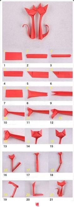 Como hacer pareja de gatos enamorados en origami | Manualidades de hogar