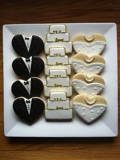 Wedding Cookies cute idea for a shower - these are just heart-shaped cookies!cute idea for a shower - these are just heart-shaped cookies! Wedding Shower Cookies, Wedding Cake Cookies, Bridal Shower, Bride Cupcakes, Decorated Wedding Cookies, Heart Shaped Wedding Cakes, Iced Cookies, Royal Icing Cookies, Sugar Cookies