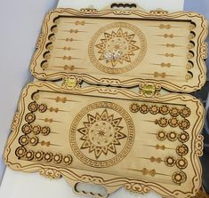 The Backgammon drawing is designed and tested for laser cutting. The patterns are applied by laser engraving, which looks great on the wood. Characteristics: Box dimensions: 15x8.7x0.9 inches (38х22х2,2 cm). Checker dimensions: diameter 0.6 inches (1,5 cm), 0.2 inches (0,6 cm) thick. The