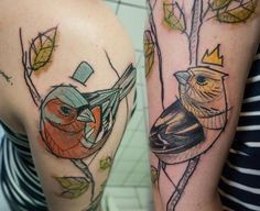 Lady and gentle chaffinch   Sven at Scratcher's Paradise Tattoo