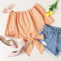 Off Shoulder Gingham Print Knot Top - Summer Outfits Teen Fashion Outfits, Outfits For Teens, Stylish Outfits, Summer Outfits, Cute Outfits, Dress Fashion, Off Shoulder Outfits, Rainbow Outfit, Crop Top Outfits
