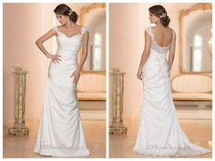 Classic Illusion Cap Sleeves Sweetheart Ruched Bodice Wedding Dresses