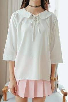 White Tie Front Collar 3/4 Length Sleeve Shirt