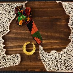 Afro string art with headband! Afrocentric strings by SikaSika on Etsy