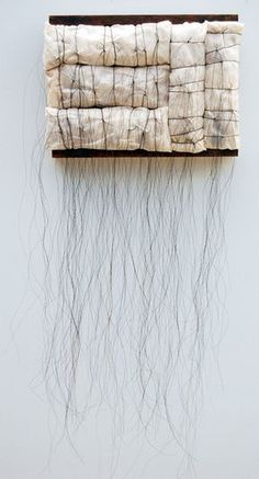 Kathy Miller - Shroud Encaustic, horse hair, fabric, wire, found wood and alpaca stuffing 12 x 3 1/2 inches