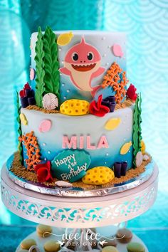 Baby Shark + Under the Sea Cake from a Baby Shark Birthday Party on Karas Party Ideas | KarasPartyIdeas.com (15)