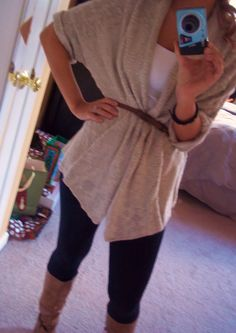 belted long sweater