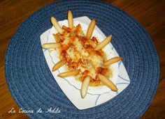 Tapa de patatas, con sobrasada y queso