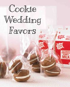 Cookie Wedding Favors | Martha Stewart Weddings - Turn a childhood favorite into a treat to welcome out-of-towners by offering pints of milk paired with cookies (shown are pumpkin whoopie pies from One Girl Cookies bakery). Place desserts in cellophane and tie with twine; put them, along with the drinks, in frosted bags and refrigerate until guests arrive.